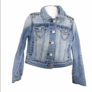Total girl s 6/7 jean distressed studded jacket